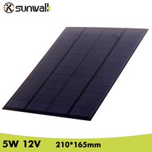 SUNWALK Solar Cell Panel Module 5W 12V 410mAh Polycrystalline PET Mini Solar Panel for Solar System and Test 210*165mm