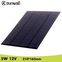 SUNWALK Solar Cell Panel Module 5 W 12 V 410 mAh Policristallino PET Mini Pannello Solare per il Sistema Solare e prova di 210*165mm