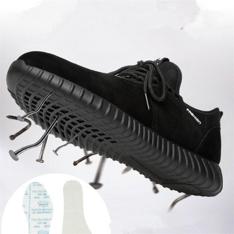 1 Acier Ponction Respirant Sécurité Suédé Travail Vache En Preuve Bottes Bout Léger Orteil Hommes Noir Chaussures Cuir De À Xqgwxw7U