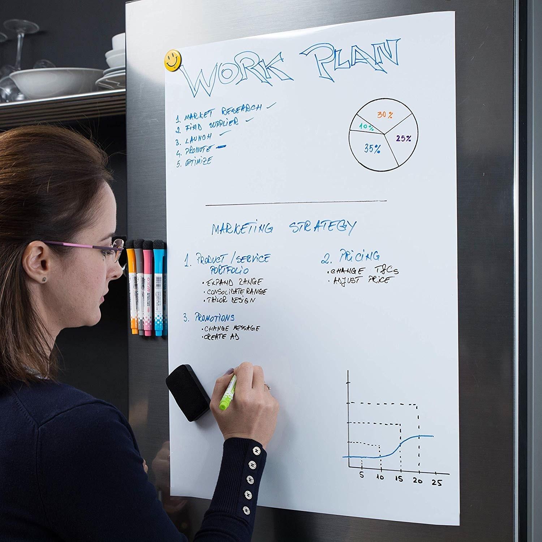 Image 4 - Soft Flexible Magnetic Whiteboard Fridge Magnets Reminder Board Home Kitchen Message Boards Writing Pad Magnetic Marker Eraser-in Fridge Magnets from Home & Garden