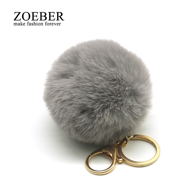 Lovely 8CM Big Faux Fur PomPom KeyChain Cute Rabbit Hair Bulb Bag Pom Pom Ball Key Chain Holder Pendant Porte Clef for Women pom pom ball applique rabbit print pullover