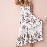 Khale Yose New Summer White Floral Layered Deep V Backless Sexy Beach Maxi Dress Women Boho Vintage Spaghetti Straps Long Dress