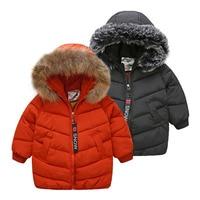 2018 Winter 3 5 6 7 8 9 10 11 12 Years Teenager Thickening Faux Fur Hat Kids Baby Boys Black Hooded Medium Long Down Jacket Coat