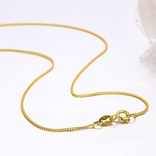 35cm-80cm Thin 925 Sterling Silver Yellow Gold Color Tiny Curb Chain Choker Necklaces Women Girls Jewelry Kolye Collares Collier(China)