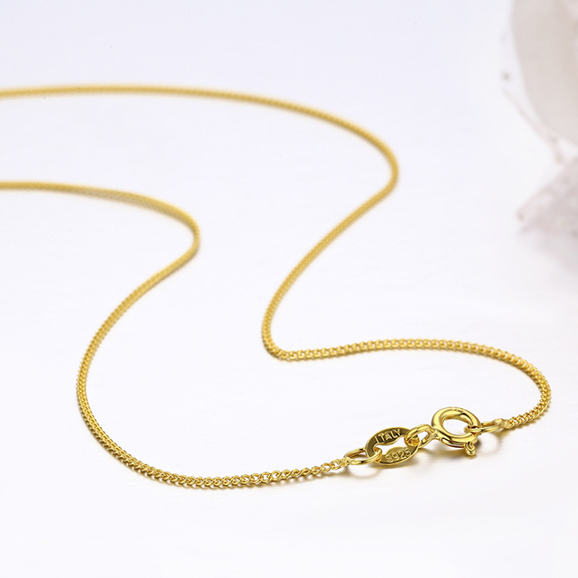 35cm-80cm Thin 925 Sterling Silver Yellow Gold Color Tiny Curb Chain Choker Necklaces Women Girls Jewelry Kolye Collares Collier