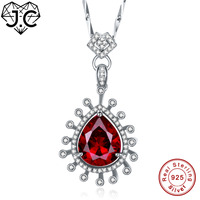 J.C Female Luxury Ruby & Tanzanite Topaz Necklace Solid 925 Sterling Silver Necklace Fine Jewelry for Women Wedding Pendant