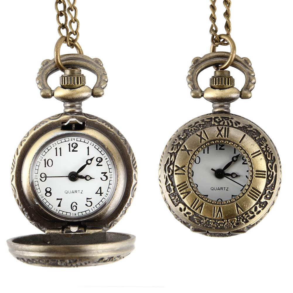 Flip Cover Antique Pocket Watch Alloy Roman Number Dual Time Display Clock Necklace Chain Watches Birthday Gifts FS99