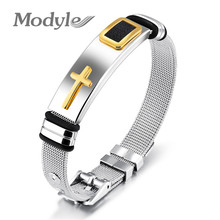 Modyle 2017 New Gold-Color Cross Bracelet For Men Women Stainless Steel Cool Men Jewelry Gifts(China)