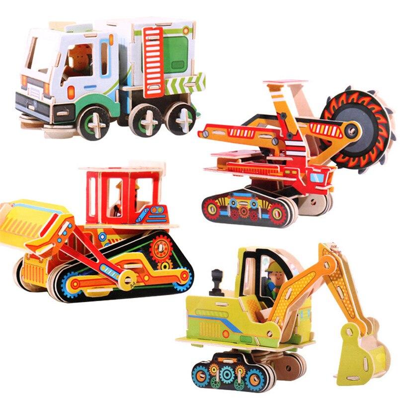 3d Houten Puzzel Regenboog Houten Blokken Speelgoed Simulatie Auto Model Educatief Speelgoed Voor Kinderen Training Spel Geschenken Arcoiris Madera
