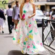Women Vintage Halter Maxi Dress Celmia 2021 Bohemian Floral Print Sleeveless Off Shoulder Long Dress Elegant Party Vestidos 5XL