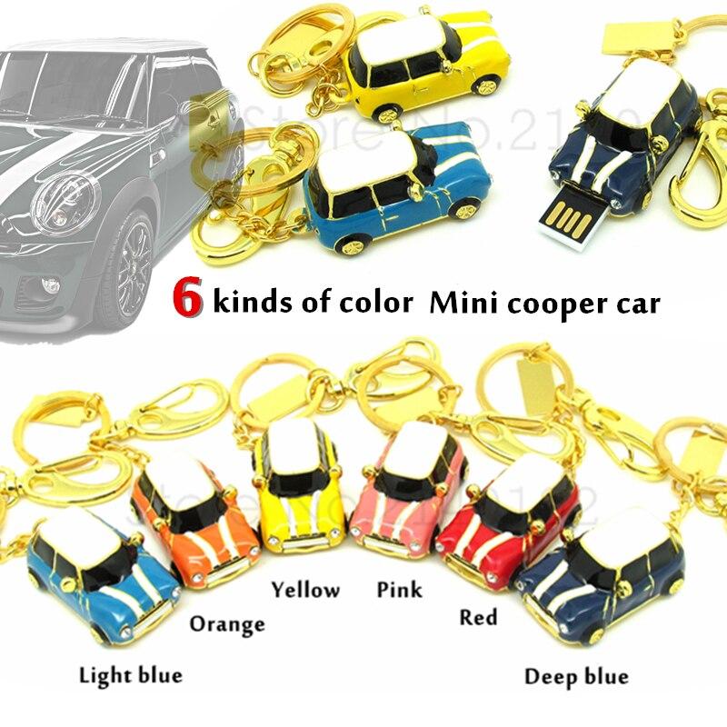 Fashion Mini Cooper Car USB Flash Drive Metal/ Diamond Pen Drive Memory Stick  USB 2.0 Disk 4gb/8gb/16gb/32gb Keychain