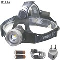 B13 Zoom CREE L2 Head light USB Led head Lamp zoomable Boruit Lights by 18650 Battery With Usb Cable