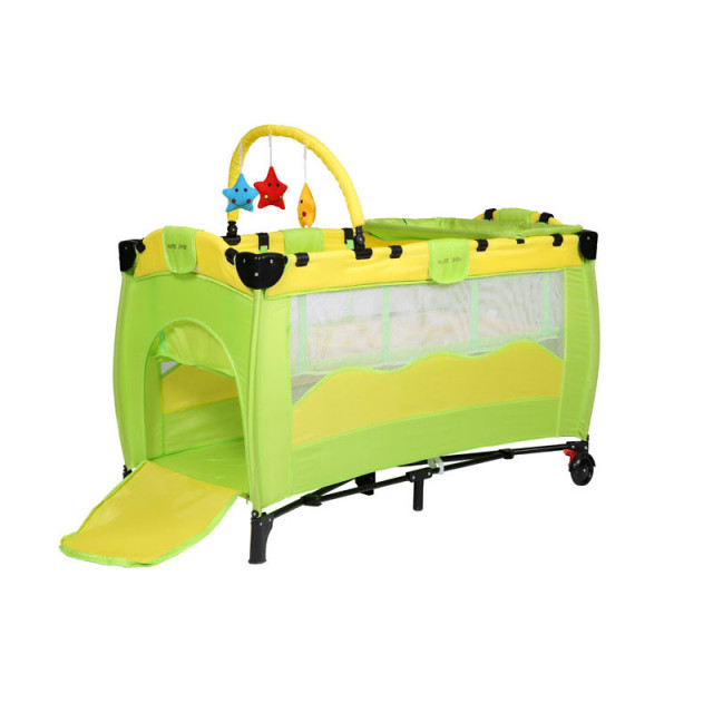 Green Hralth&Sfe Infant Cartoon Crib Shelf Exporting High-profile European Baby Foldable Playpen Baby Bed with Package Wholesale