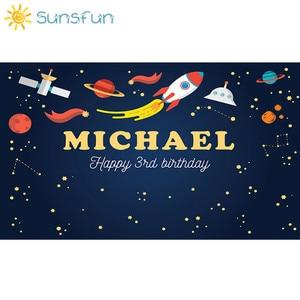 Image 2 - Sunsfun 7x5FT Trẻ Em Sinh Nhật Polyester Ngang Vũ Trụ Không Gian In Phông Nền Chụp Ảnh Cho Sơ Sinh Thả Nền