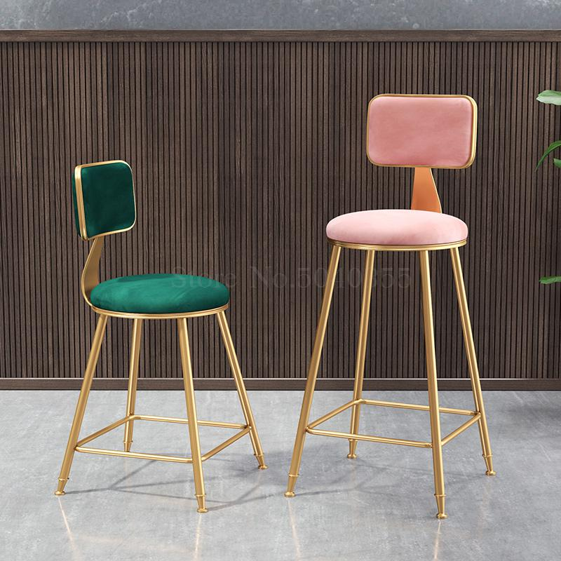 High chair dining chair Nordic casual tea shop bar chair net red coffee light luxury stool back dressing table bar chair