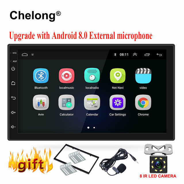 "Android 8.0 universele Auto Radio 7 ""2 din auto radio gps android 2din Auto Dvd-speler GPS NAVIGATIE WIFI bluetooth MP5 Speler"