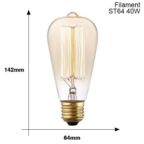 Винтажные подвесные светильники E27 патрон лампы 110V 220V винт переключения установки e27 Цоколи лампы Ретро держатель лампы edison - Цвет: E27 ST64 40W
