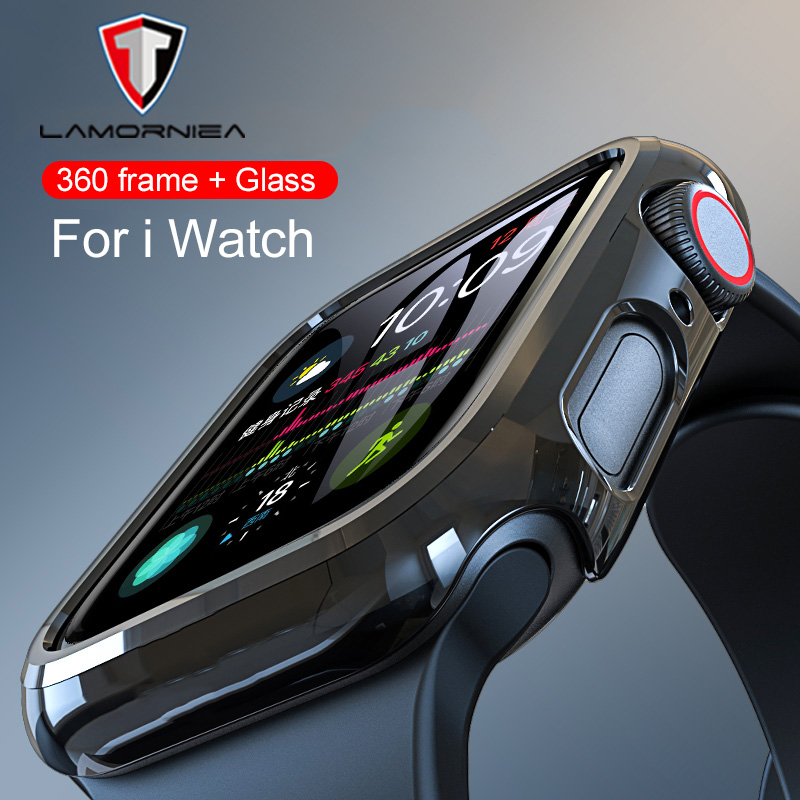 Tempered Glass For Apple Watch 44mm 38mm 42mm 40mm Series 4 3 2 1 Full Cover Curved Edge Frame Screen Protector For I Watch