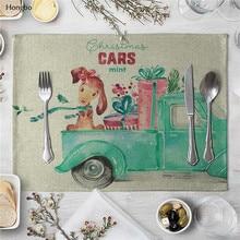 Linen Table Mat Cute Cartoon Animal Pattern Placemats For Children Kids Kitchen Dining Place Mats Pads