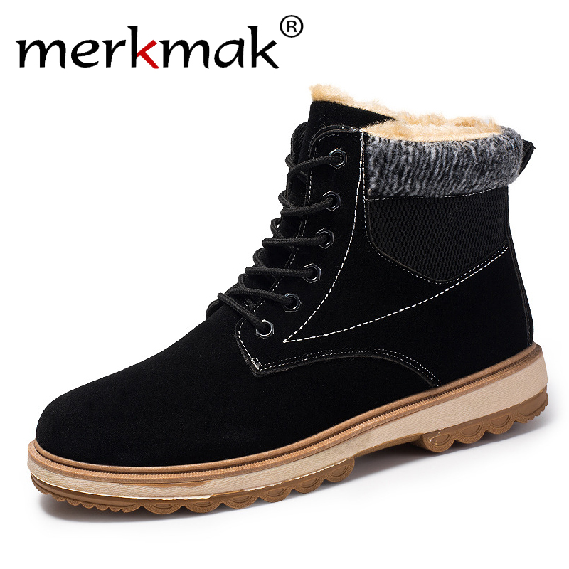 merkmak Winter Boots Men Casual Fashion Lace-up Shoes Warm Snow Boots Plus Size British Style Ankle Boots for Men Drop Shipping brand men boots fashion hot bullock shoes handmade warm genuine leather winter boots men casual british style ankle snow boots