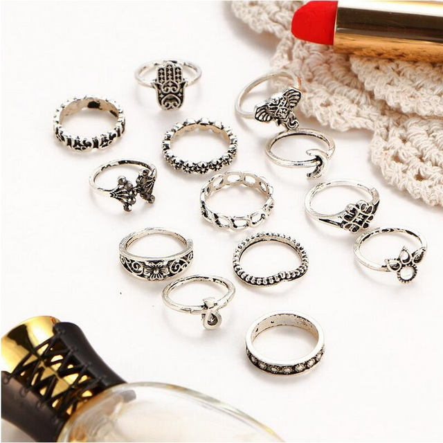 Fashion Vintage Punk Midi Finger Ring Set for Women Vintage Steampunk Anil Boho Knuckle Party Rings Punk Jewelry Gift for Girl