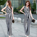 Hot 2016 new summer brand women's coveralls sexy striped chiffon trousers wide leg pants female fashion V-neck waist jumpsuit