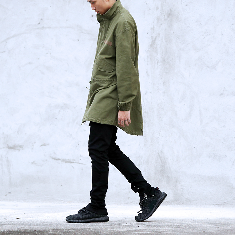 2017 new hot mens jackets and coats clothing clothes militaire fall Black green long army military jacket windbreaker Oversize