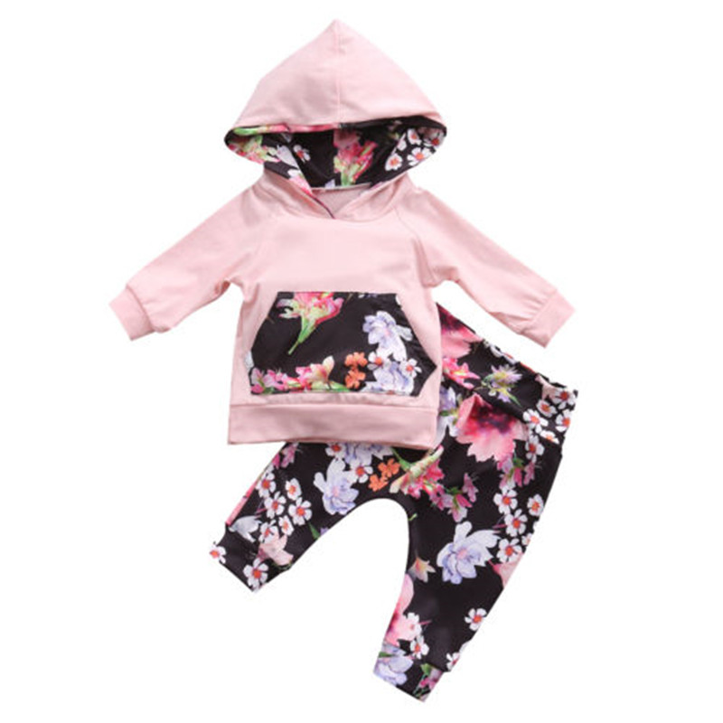 CANIS 0-24M Newborn Infant Baby Girl Clothing set cute Kids pocket Floral Hooded Tops+Pants Girls children clothes Outfits Set