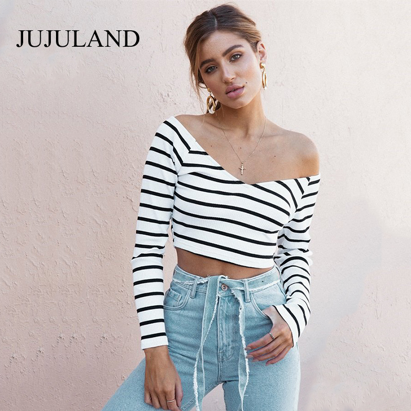 948658ec1f2 2017 Autumn Tops V Neck Ribbed Striped T Shirt Women Long Sleeve Crop Top  Korean Style Casual Slim Fashion Women Tees Tops-in T-Shirts from Women's  Clothing ...