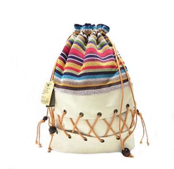 Bagaj ve Çantalar'ten Sırt Çantaları'de Orijinal etnik kanvas çuval paketi bayan pamuk baskılı renkli sırt çantası genç saman dize takip out askılı çanta'da  Grup 1