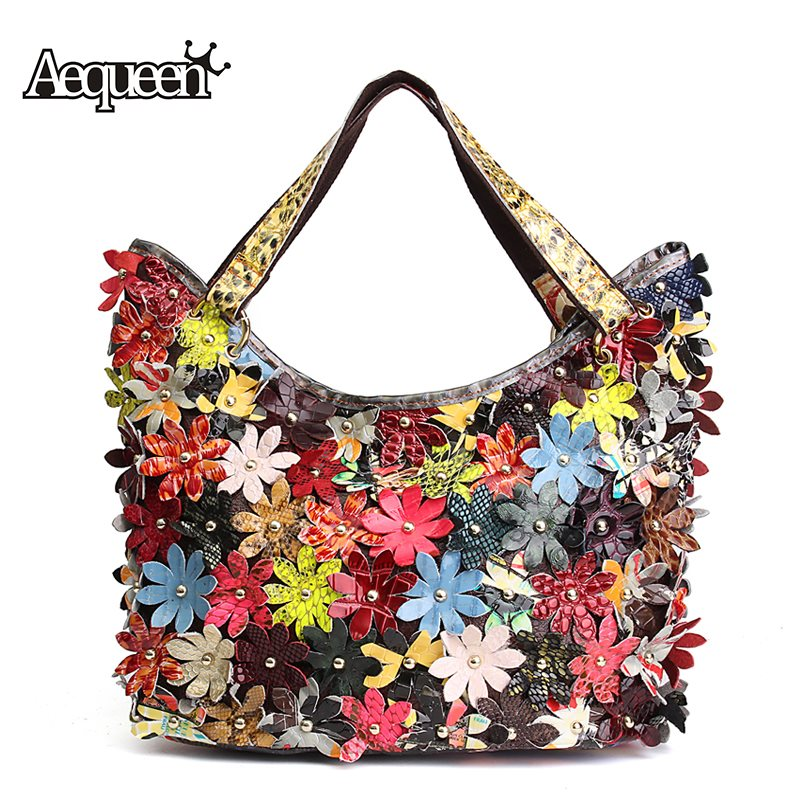 AEQUEEN Vintage Genuine Leather Women Handbags Patchwork Natural Sheepskin Flowe