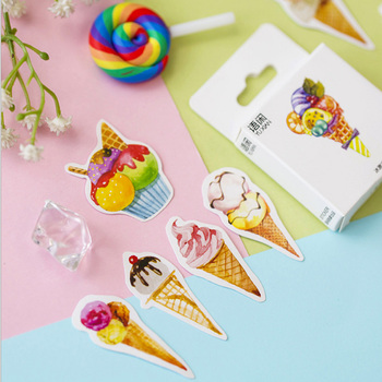 50 pcs/lbox  Ice cream mini paper sticker decoration stickers DIY Notebook Ablum diary scrapbooking label sticker stationery 50pcs box sweet heart cake paper sticker decoration stickers diy ablum diary scrapbooking label sticker kawaii stationery