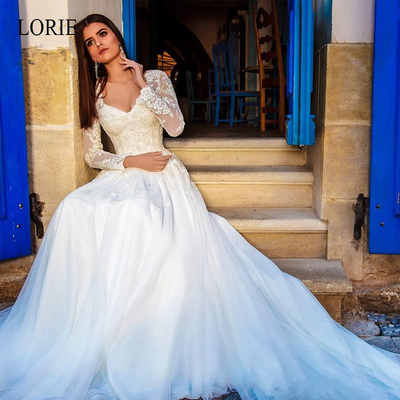 LORIE A-Line Wedding Dresses 2019 Long Sleeve V-neck Elegant Appliques Lace Bridal Gowns Back Lace Up Vestido De Noiva Plus Size