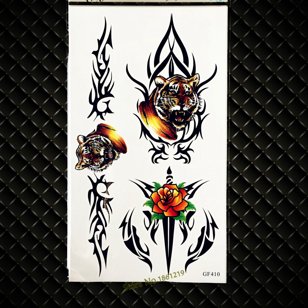 3D Inspired Tiger King Waterproof Temporary Tattoo Stickers Women Body Art Painting Fake Flash Black Tattoo Totem Men Body Arm