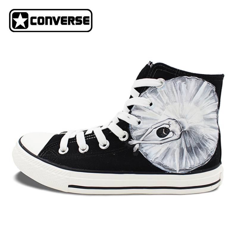 Original Design Black Converse Hand Painted Shoes Ballet Dancer High Top Men Women Canvas Sneaker Birthday Christmas Gifts