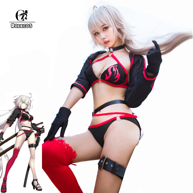 ROLECOS Fate Jeanne d'Arc Cosplay Costume FGO Joan of Arc Cosplay Swimsuit Fate Grand Order Swimwear Halloween Women Sexy Bikini