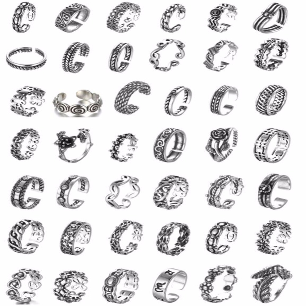 QIAMNI à la mode femmes géométrique torsion fleur Bague ensembles Vintage hommes Thai argent Knuckle Toe anneau bohême bijoux Bague