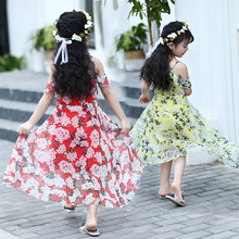 Фотография The child of 2017 girls in the tide of new summer beach dress elegant Chiffon sling flowers in the long dress