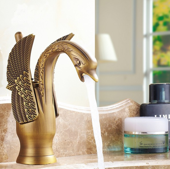 Antique Brass Migratory birds Shape Art Single Lever Handle Bathroom Faucet Vessel Sink Basin Mixer Taps anf087Antique Brass Migratory birds Shape Art Single Lever Handle Bathroom Faucet Vessel Sink Basin Mixer Taps anf087