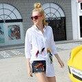 2017 verano nueva marca de moda de las mujeres de Solapa de algodón blanco largo mujeres de la manga t-shirt sección base BF camisa salvaje grande colthing tee