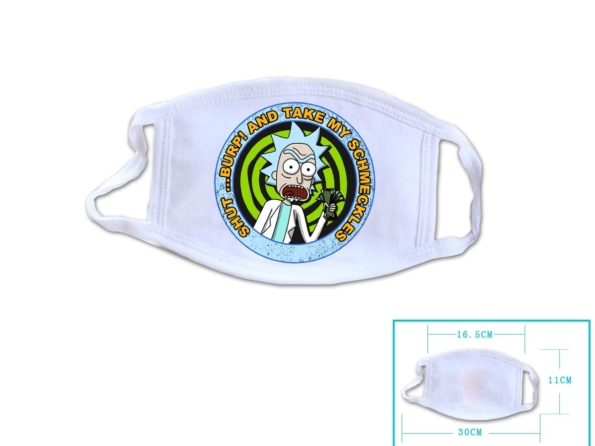 Hot Comic Rick and Morti Cosplay White Face Collection Gift Hip Hop Fashion Mask Unisex With Rick and Morti Logo