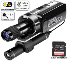 Digital Camcorder up to 100m/330ft Ultra IR Night Vision,1080P 18X Zoom with Monocular Telescope for Hunting Observe
