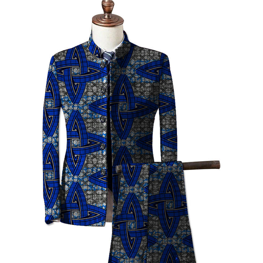 African fashion mens formal wear blazers printed dashiki suit jacket and pants set customize prints africa clothing 1