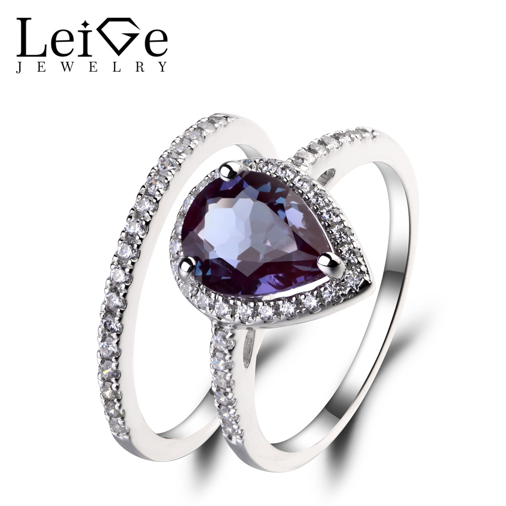 Leige Jewelry Pear Cut Alexandrite Ring Wedding Engagement Rings Set Bridal Sets 925 Sterling Silver Gemstone June Birthstone leige jewelry pear shaped engagement rings for women lab alexandrite promise ring sterling silver 925 fine jewelry pear gemstone