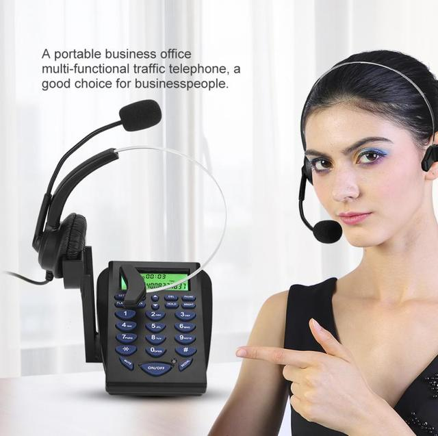 Telephone Mainframe  Business Office Multi-functional Phone Dial Pad Call Center Traffic Telephone with practical earphone stand