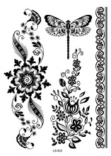 LS623 21x15cm Big Tattoo Sticker Beauty Hanna Female Black Lace Bride Temporary Flash Tattoo Stickers Body Art Dragonfly Tatoo