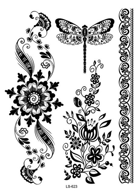 LS623 21x15cm Big Tattoo Sticker Beauty Hanna Female Black Lace Bride Temporary Flash Tattoo Stickers Body Art Dragonfly Tatoo