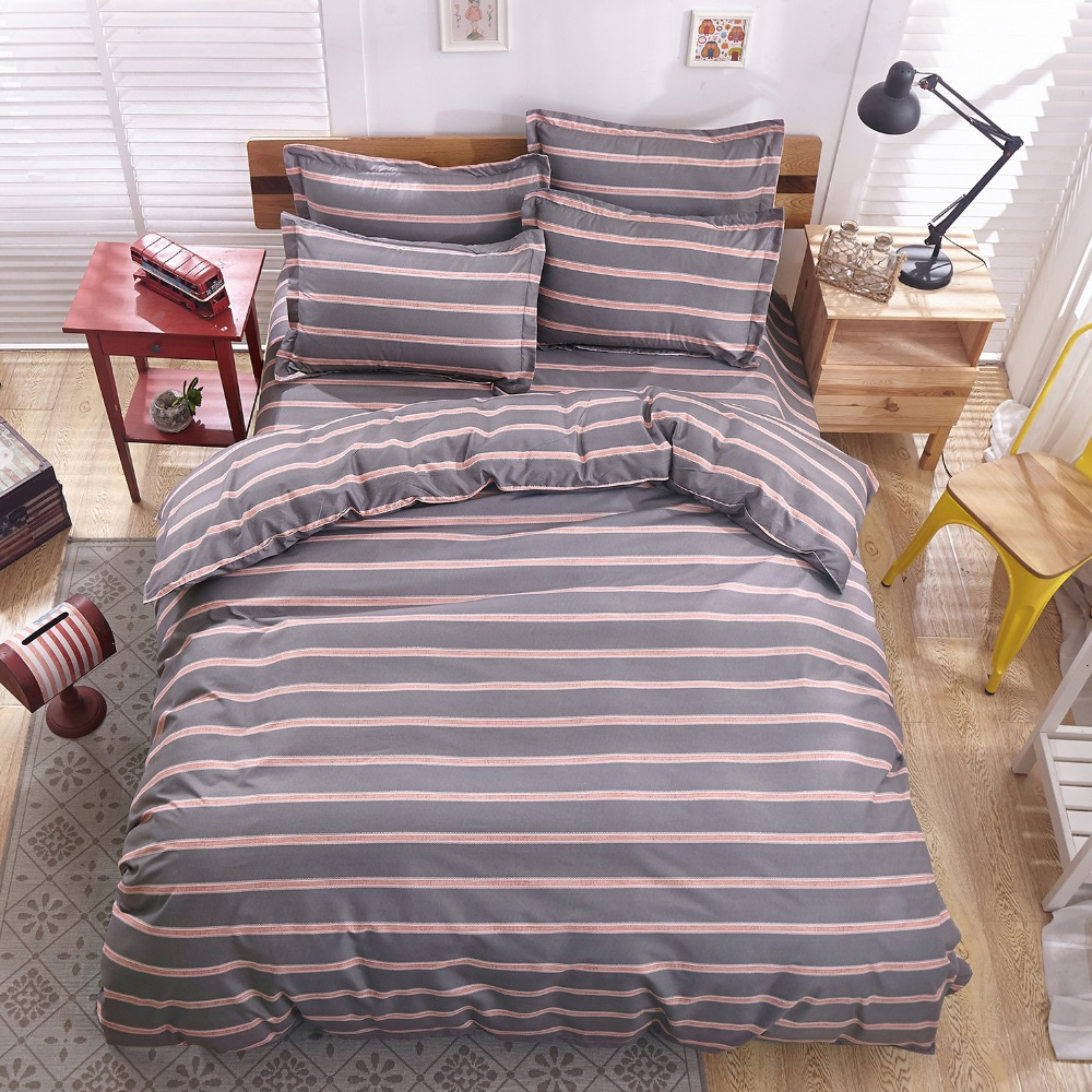 Bed sets for men - Grey Stirpe Man Bedding Set Grid Duvet Cover Set Gentleman Bed Set 4pcs Stripe Male Brief