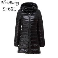 5XL 6XL Ladies Long Winter Warm Coat Women Ultra Light 90 White Duck Down Jacket With