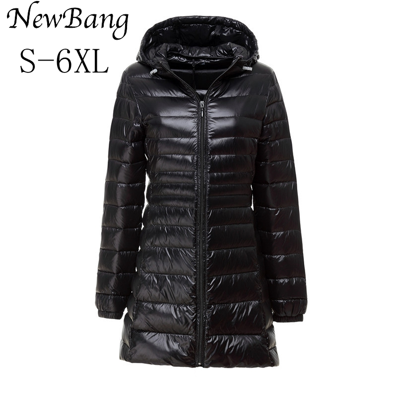 5XL 6XL Ladies Long Winter Warm Down Coat Women Ultra Light 90 White Duck Down Jacket